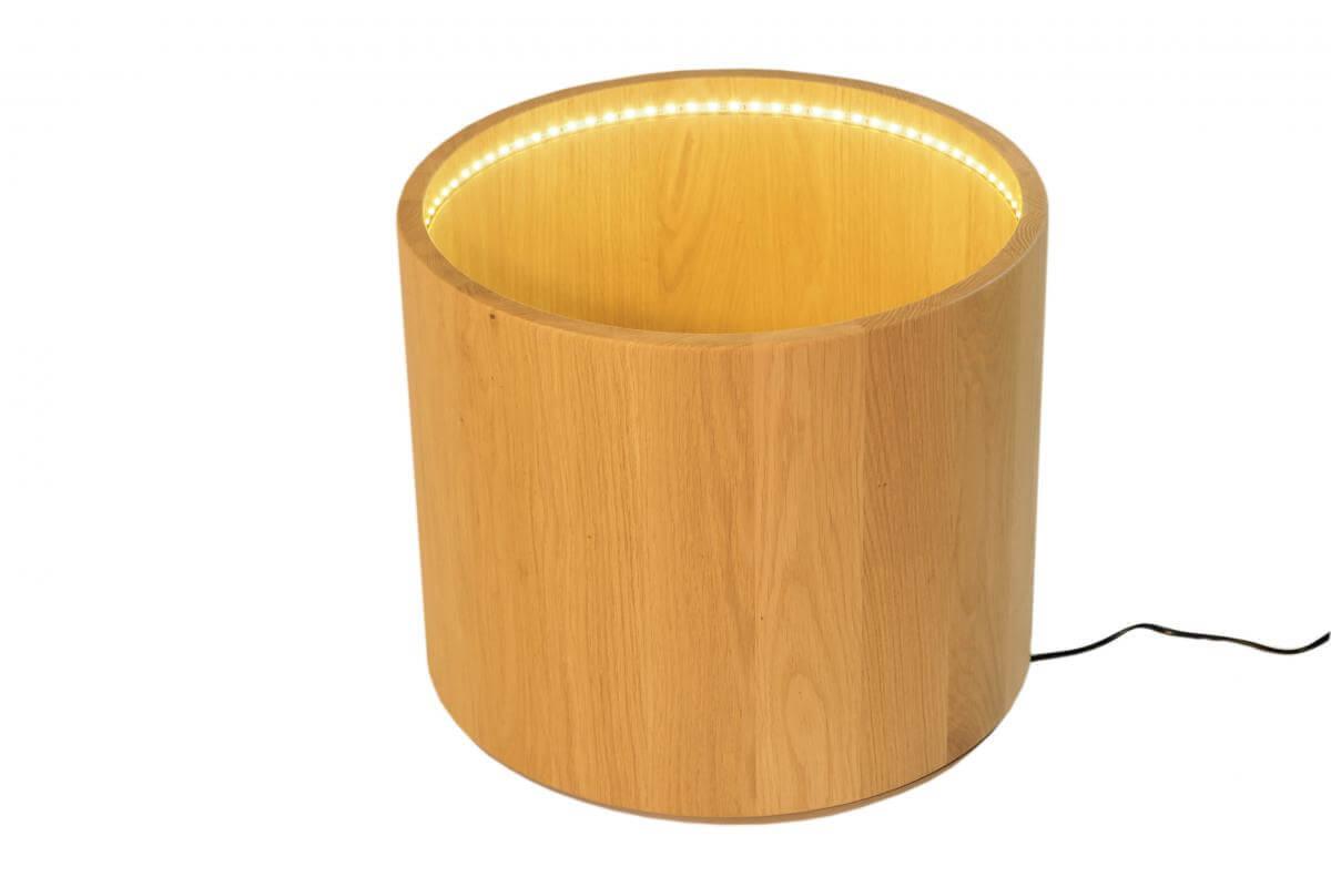 blumentopf auf rollen mit beleuchtung aus massiver eiche. Black Bedroom Furniture Sets. Home Design Ideas